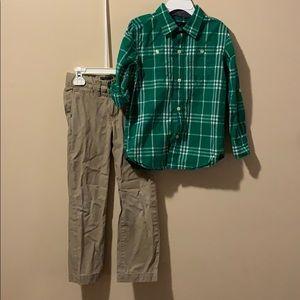 Boys size 4 outfit khaki pants & button down shirt